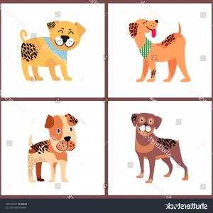 Bpxer Vector Art Happy Dog: Adorable Small Puppies Happy Excited Faces