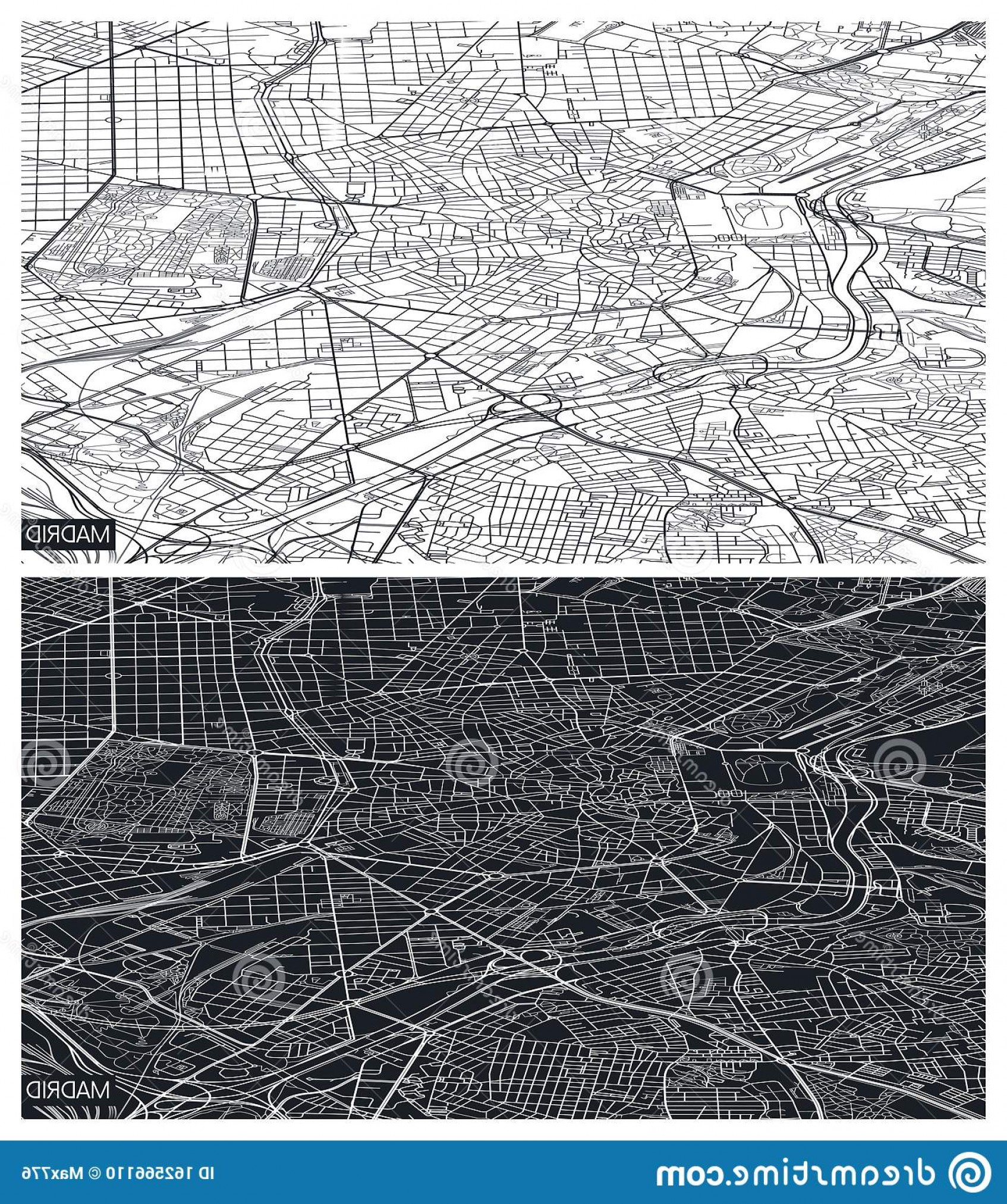 Perspective Vector: Aerial Top View City Map Madrid Black White Detailed Plan Urban Grid Perspective Vector Illustration Image