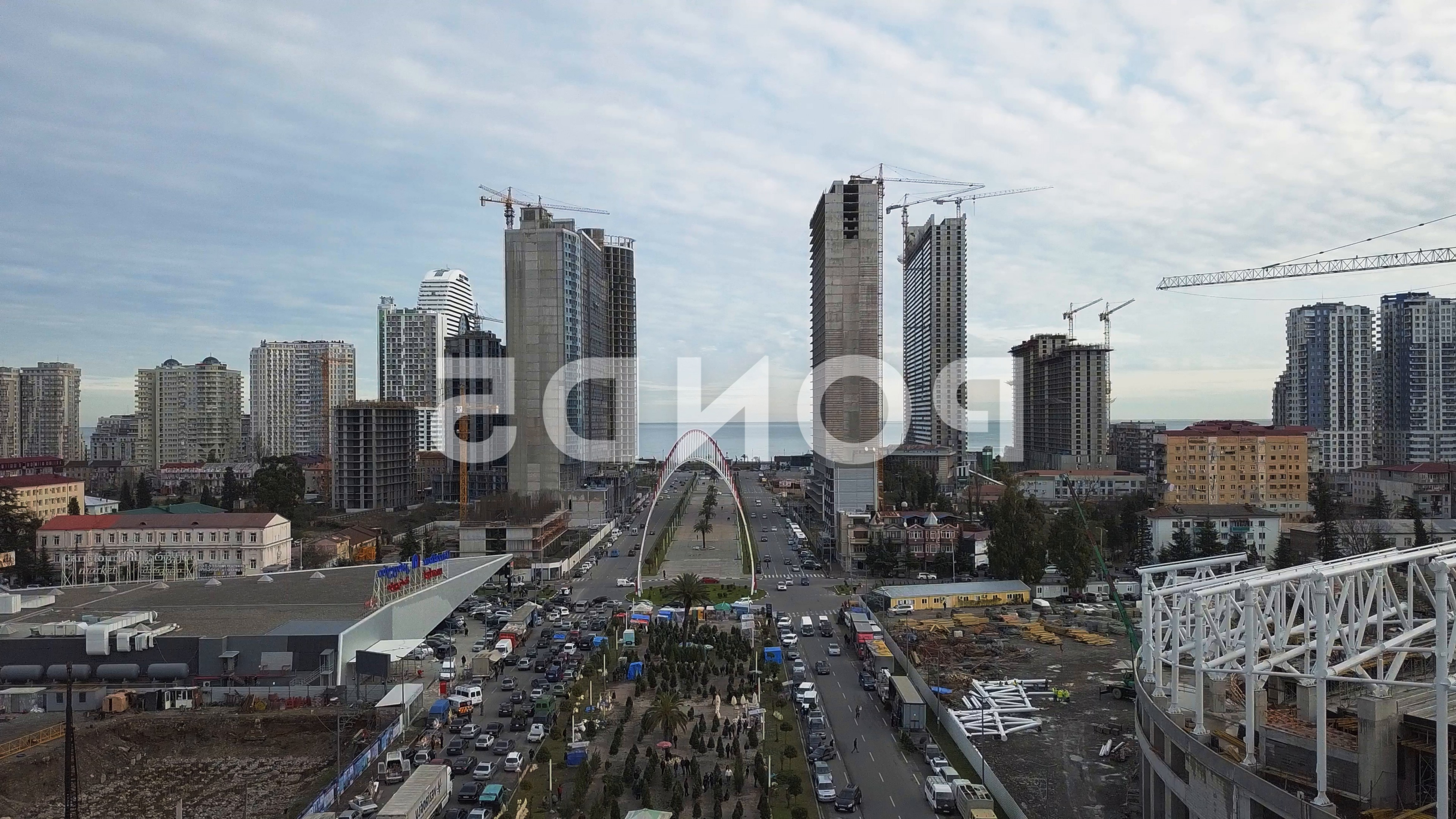 GA Tech Stinger Vector Art: Aerial View Unfinished Skyscrapers Batumigeorgialarge Crane