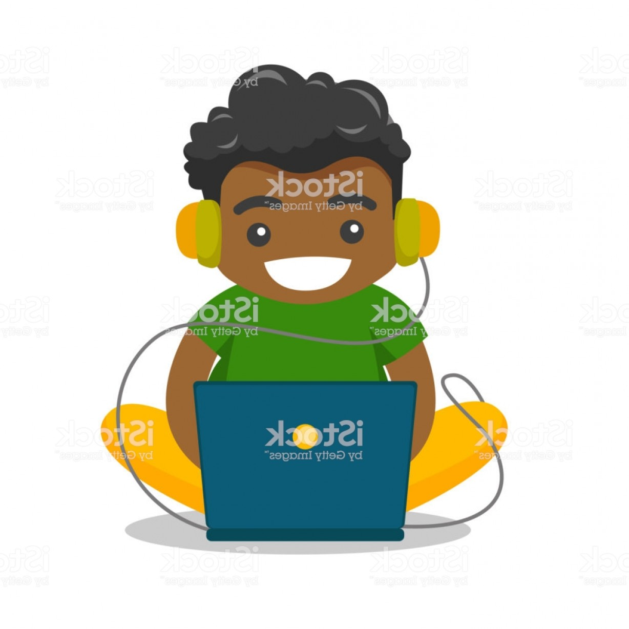 Fat Boy Logo Vector Art: African American Fat Boy Sitting With Laptop Gm