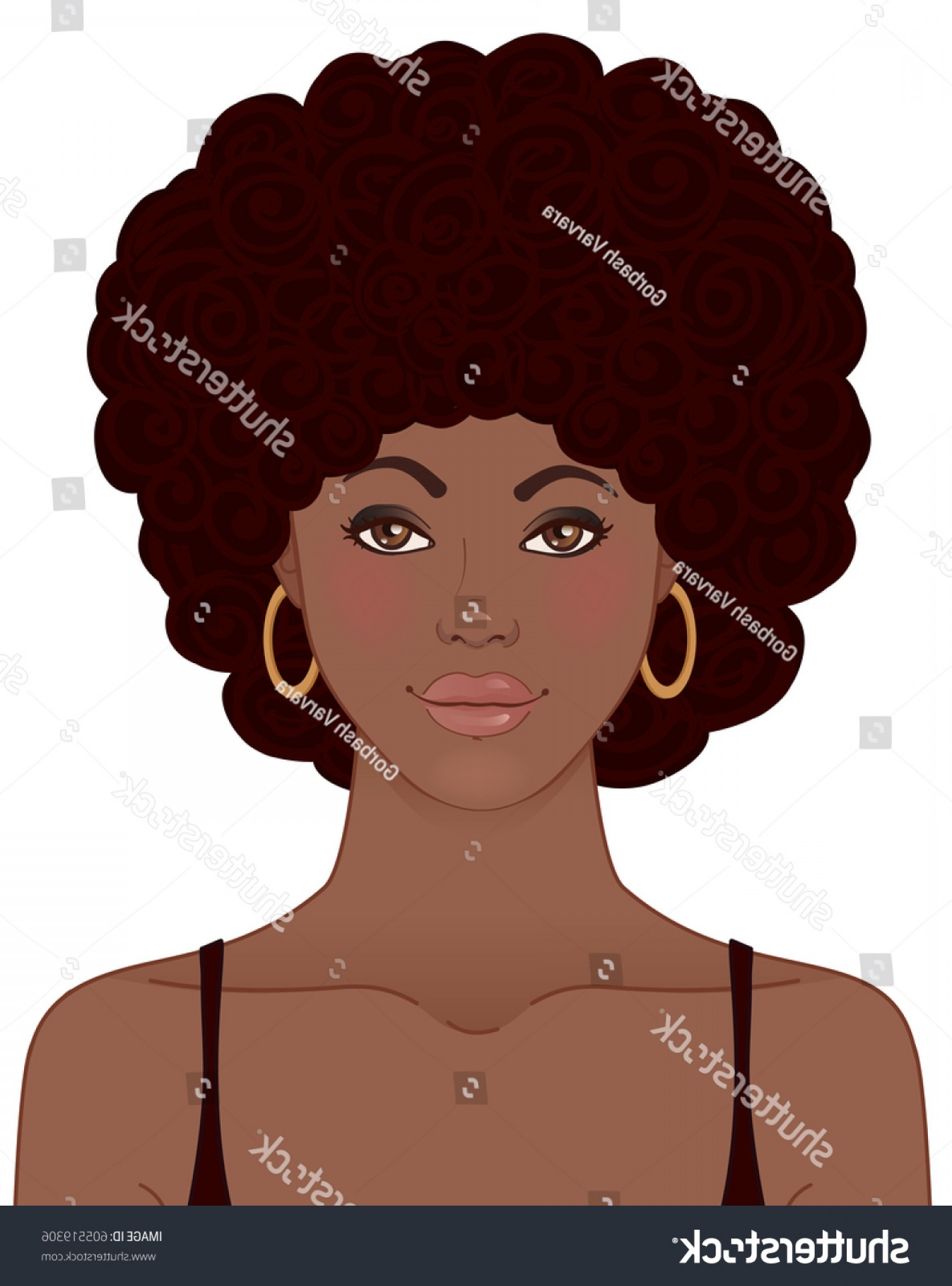 Black Woman Stock Vector: African American Pretty Girl Portrait Black