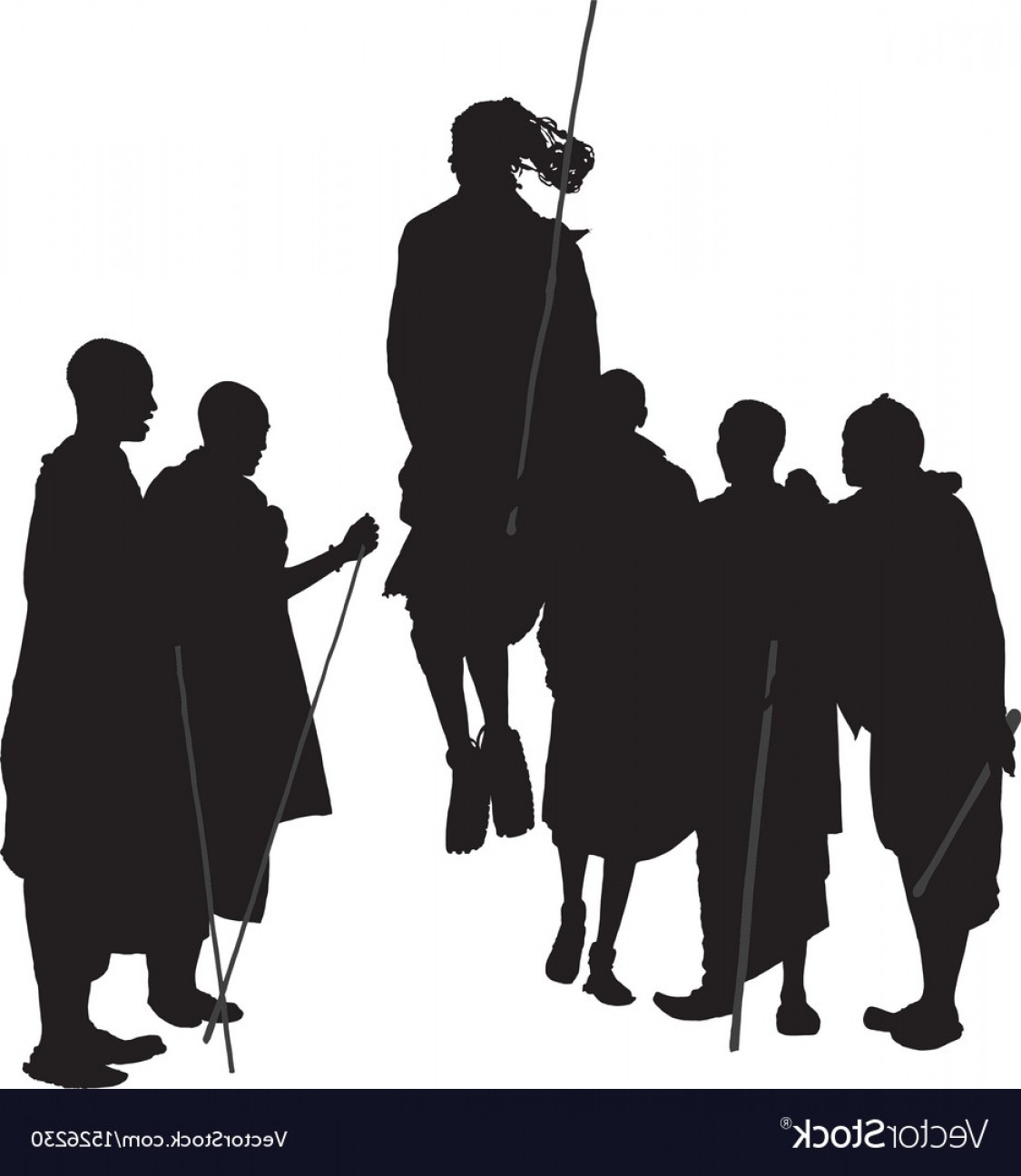 Vector African People: African Dancing People Silhouette Vector