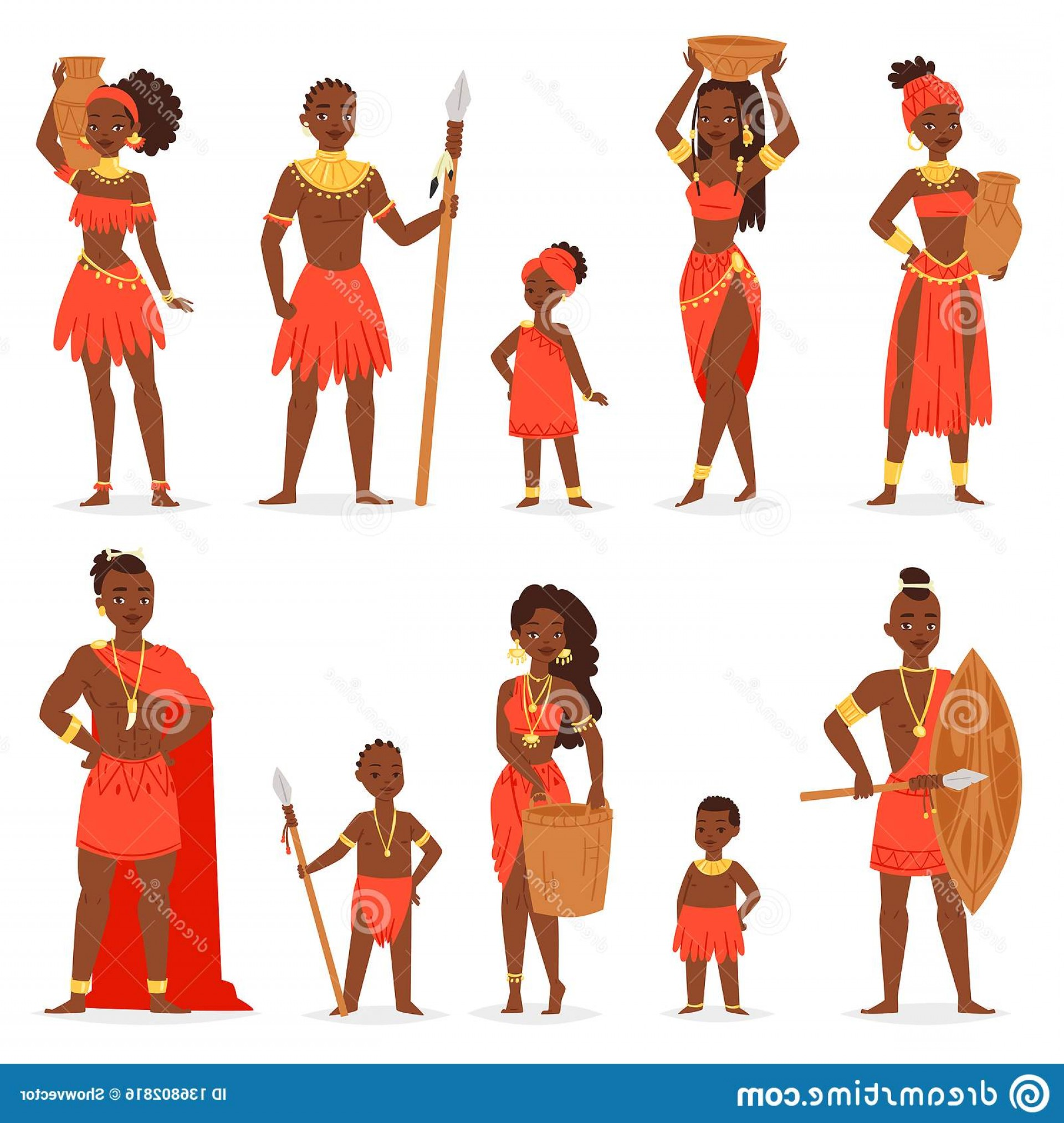 Vector African People: African People Vector Black Man Beautiful Woman Character Traditional Tribal Clothing Dress Africa Illustration African Image