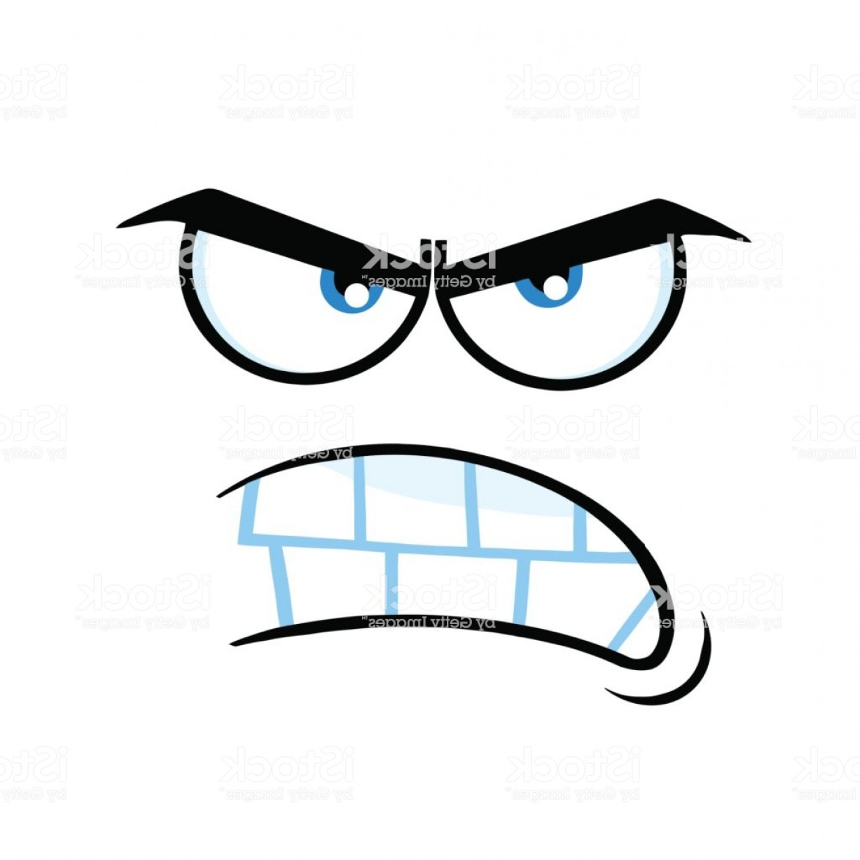 Angry Eyebrow Vector: Aggressive Cartoon Funny Face With Angry Expression Gm