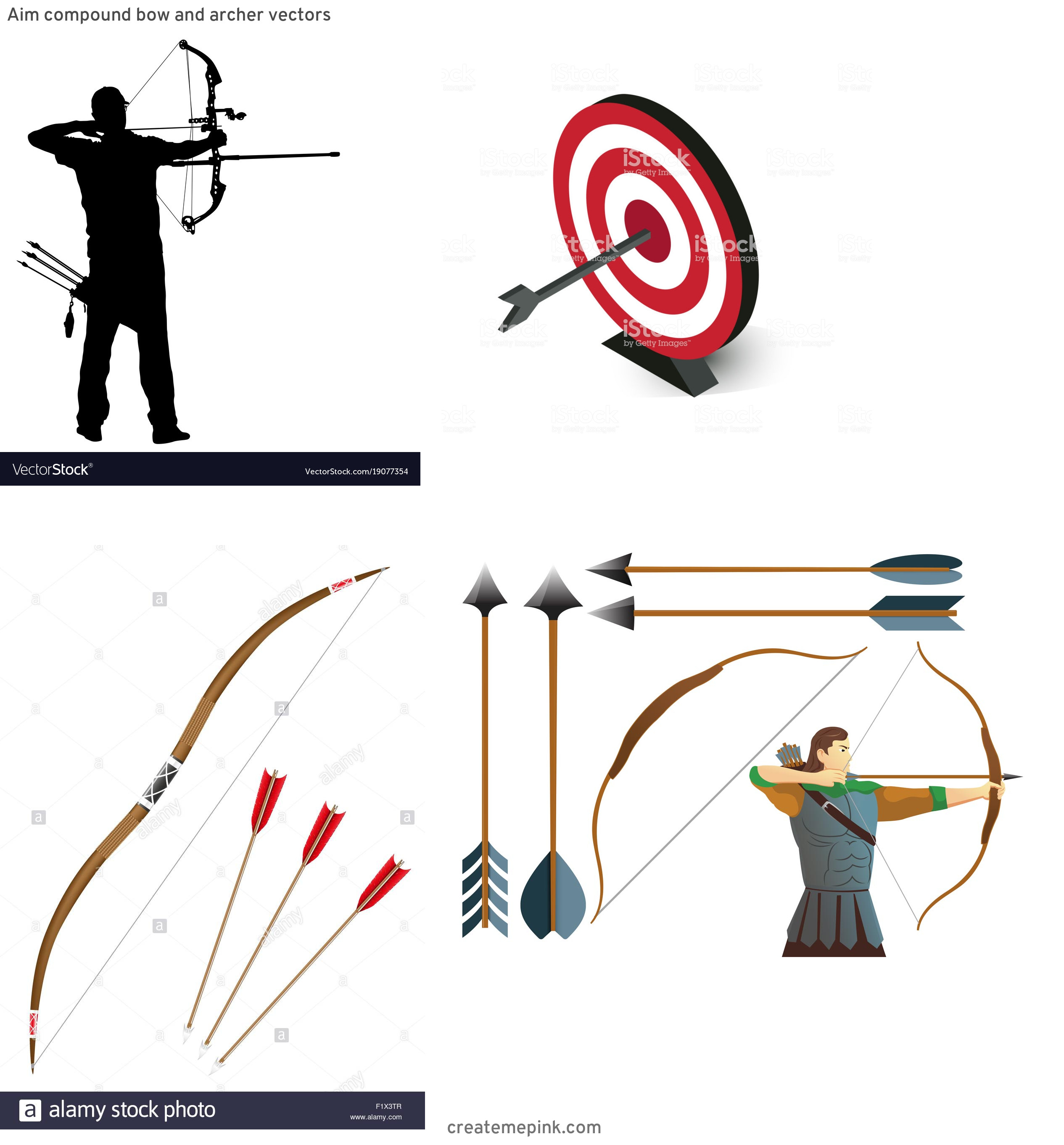 Target Bow And Arrow Vector: Aim Compound Bow And Archer Vectors