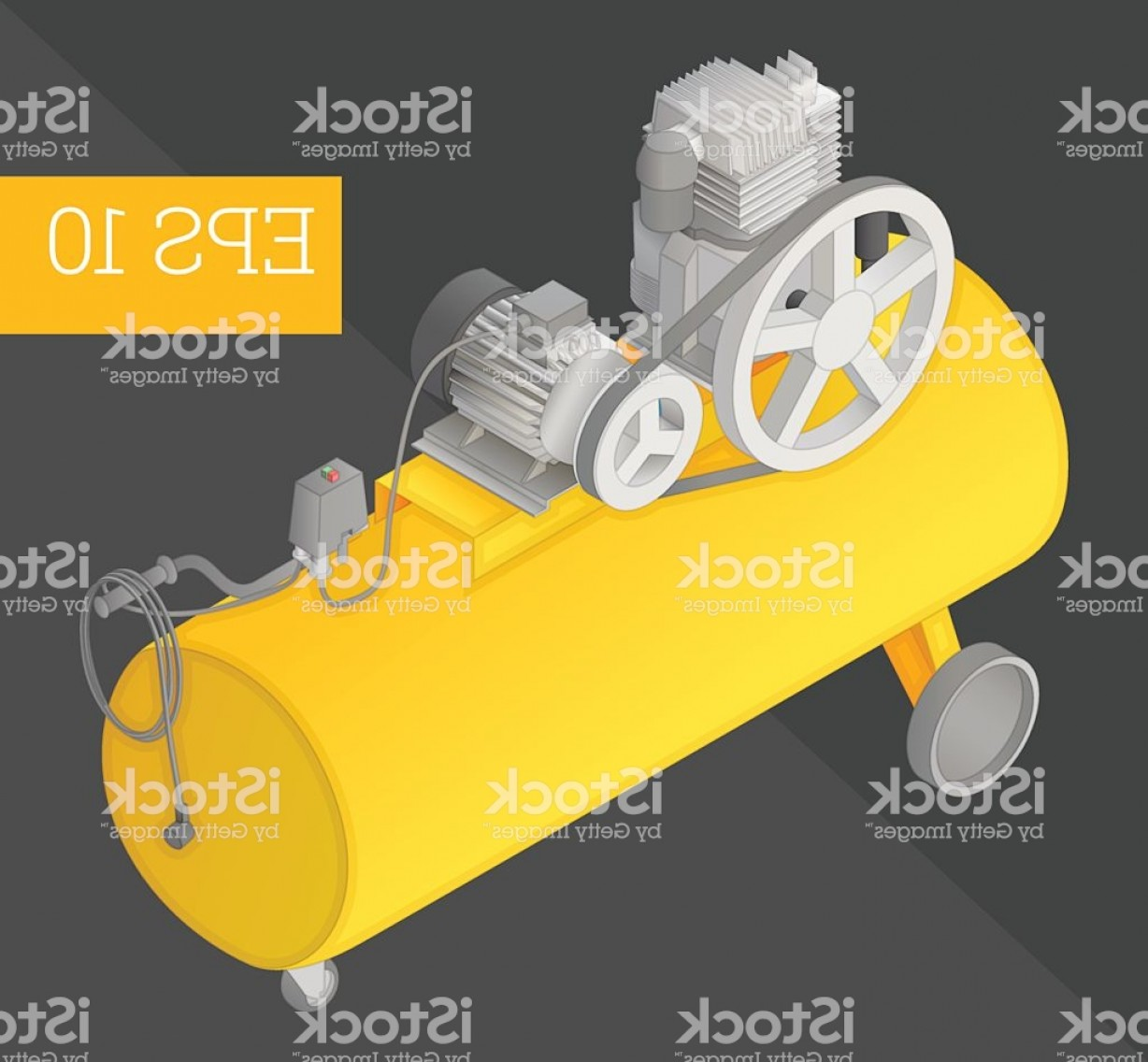 Vector Power On Board Compressor: Air Compressor Isometric Vector Illustration Gm
