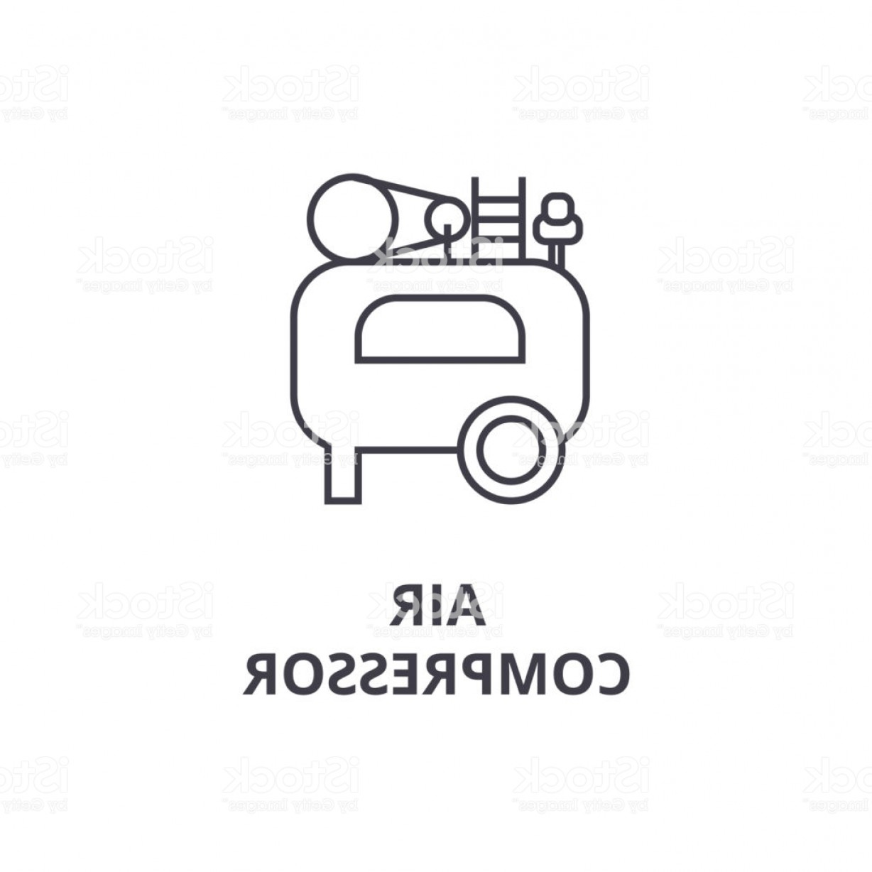 Vector Power On Board Compressor: Air Compressor Vector Line Icon Sign Illustration On Background Editable Strokes Gm