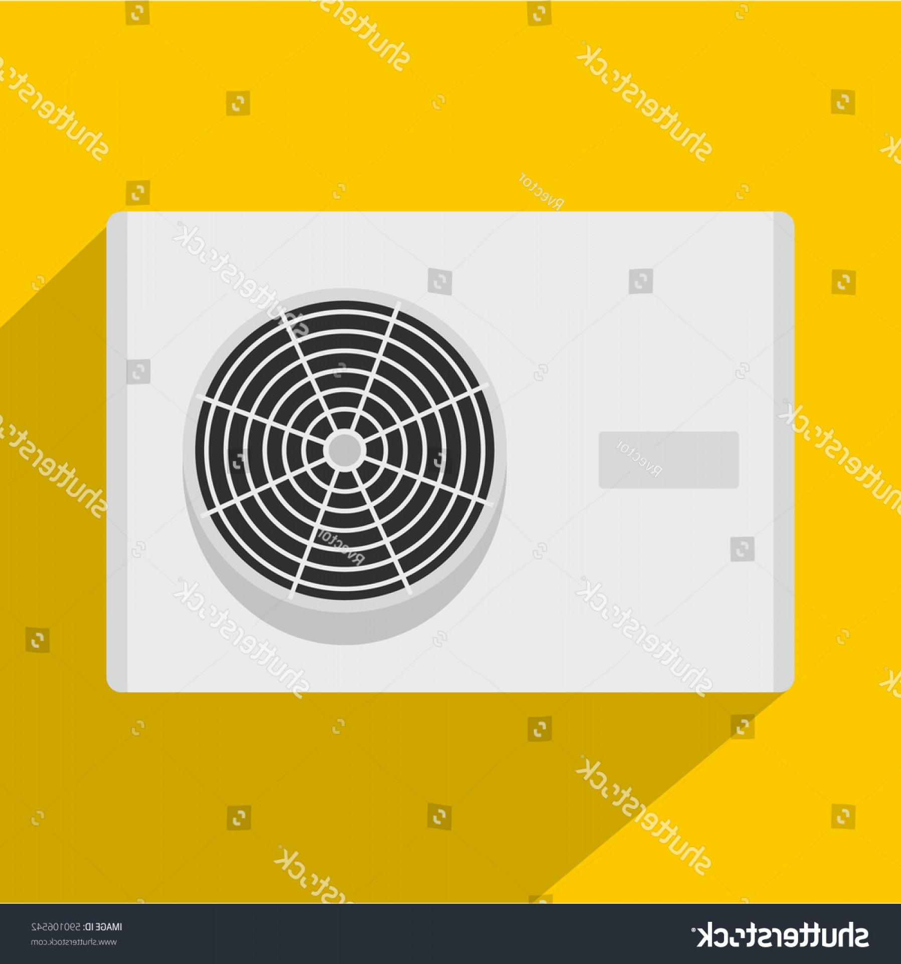 Vector Power On Board Compressor: Air Conditioner Compressor Unit Icon Flat