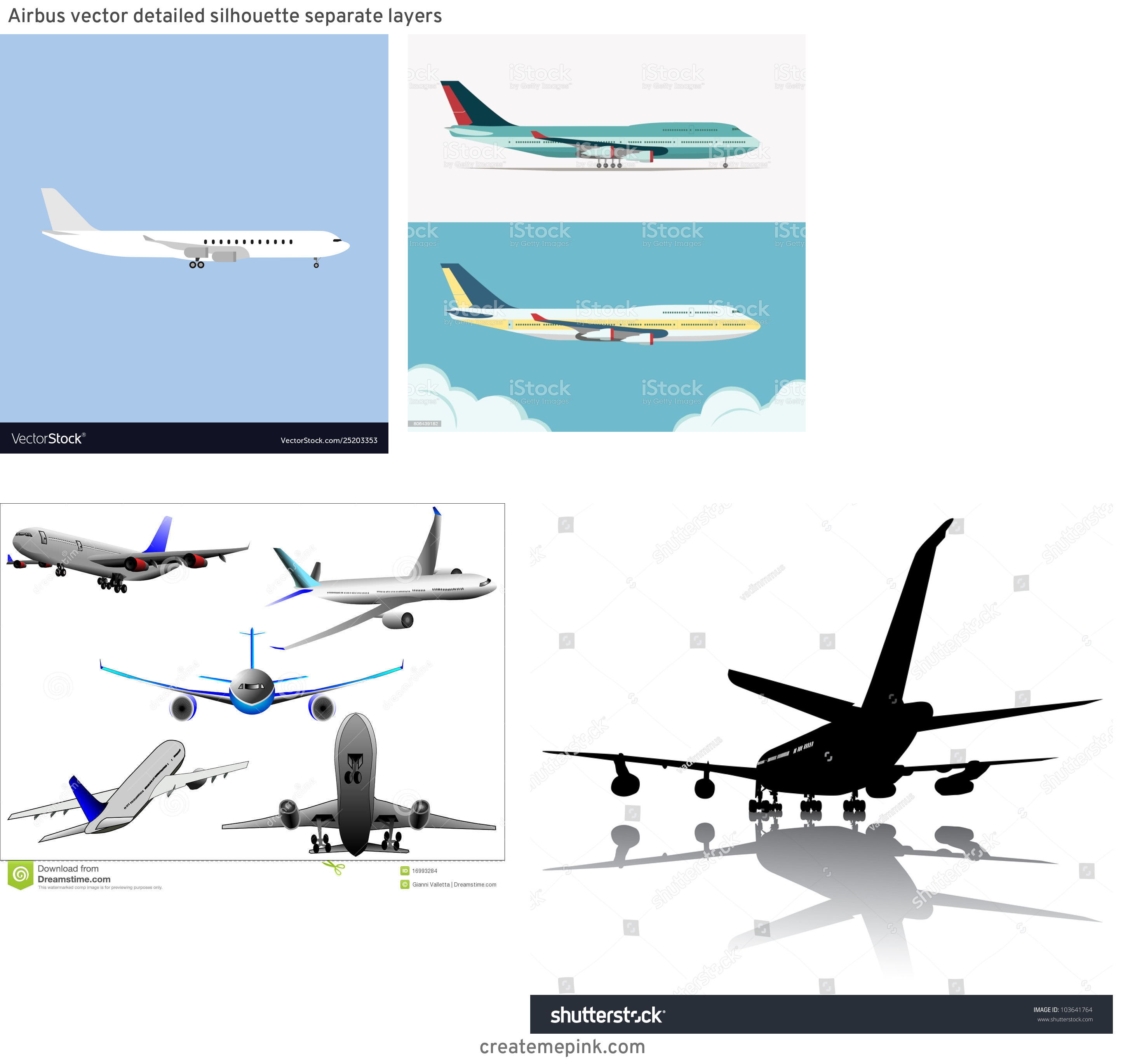 Vector Aerospace Airbus: Airbus Vector Detailed Silhouette Separate Layers