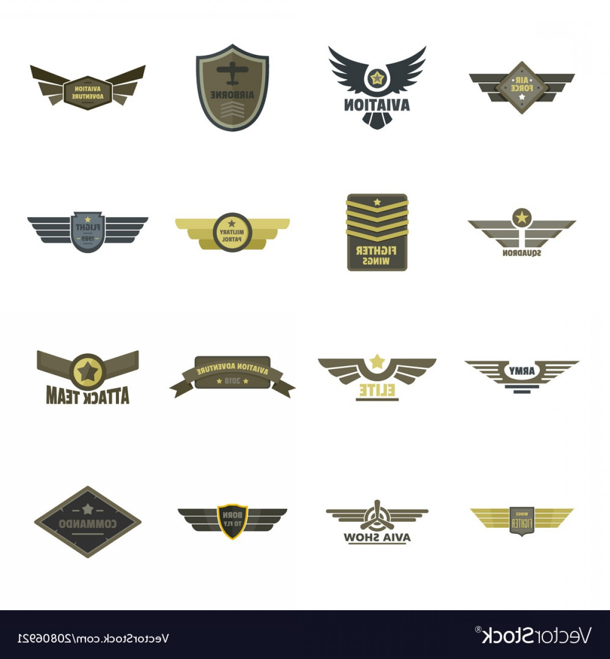 Army Aviator Wings Vector: Airforce Navy Military Logo Icons Set Flat Style Vector