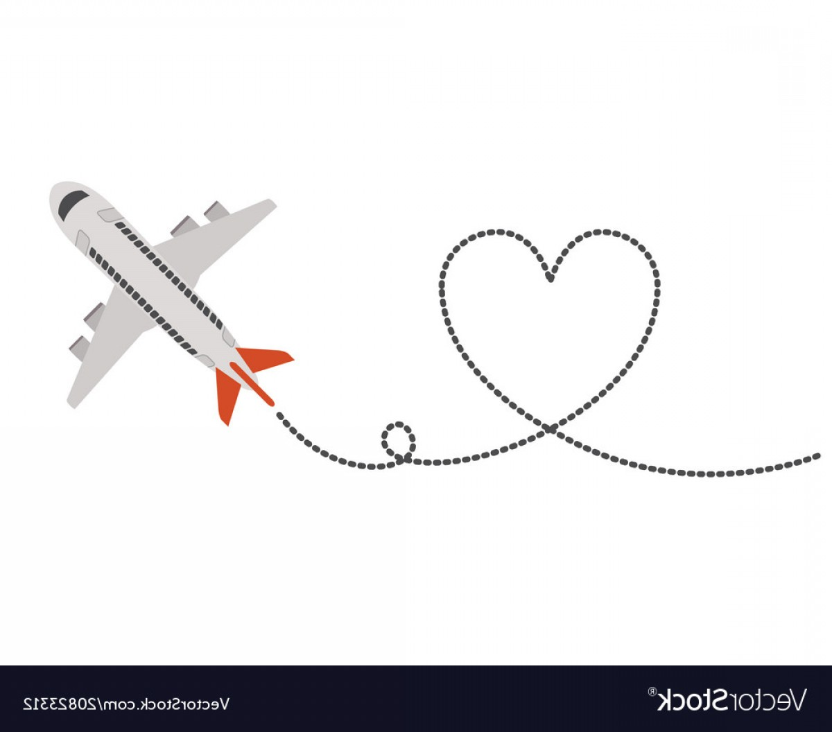 Black Heart And Plane Vector: Airplane Flying With Heart Vector