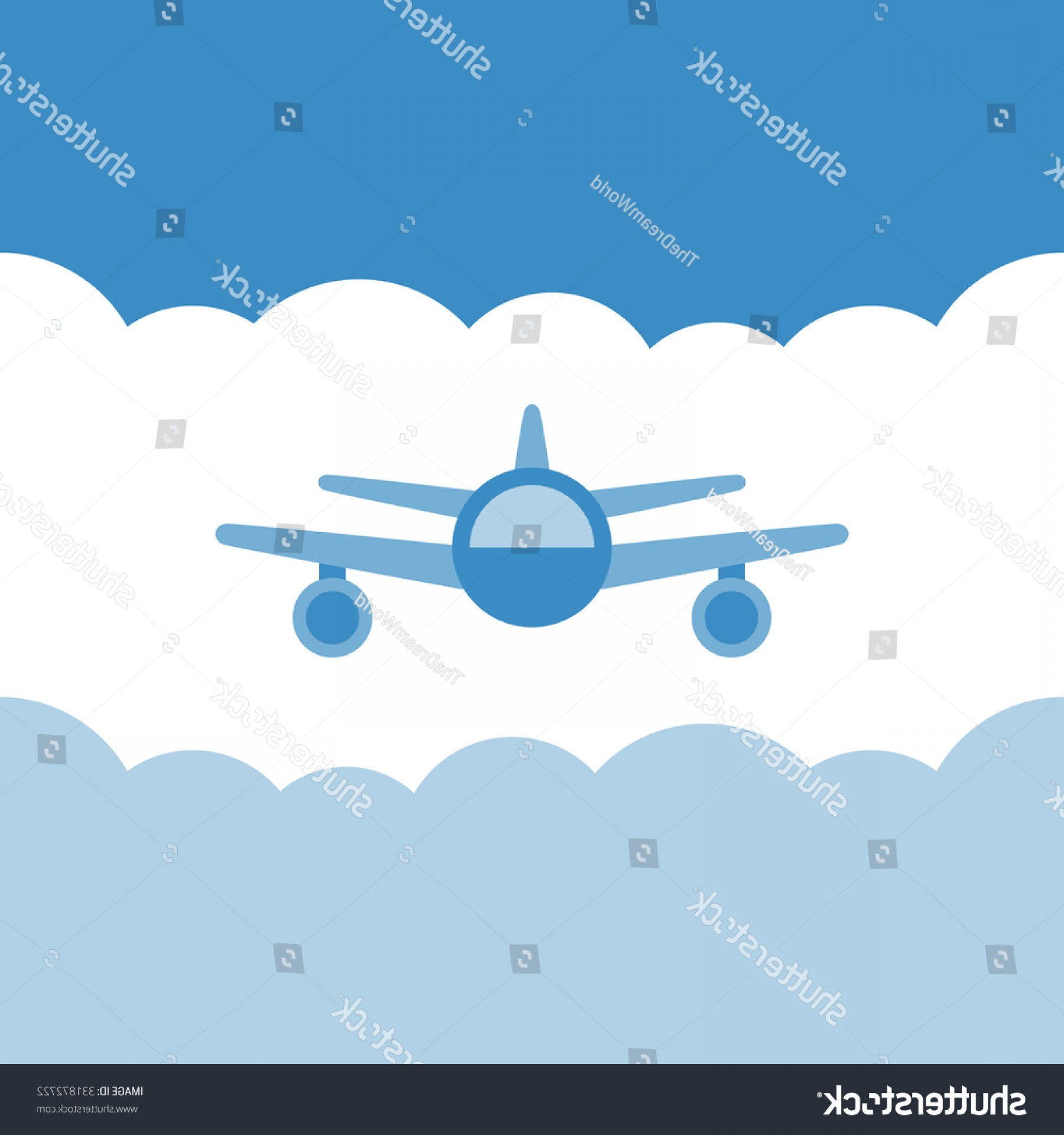Vector Airplane Clouds: Airplane Front View Blue Sky Clouds