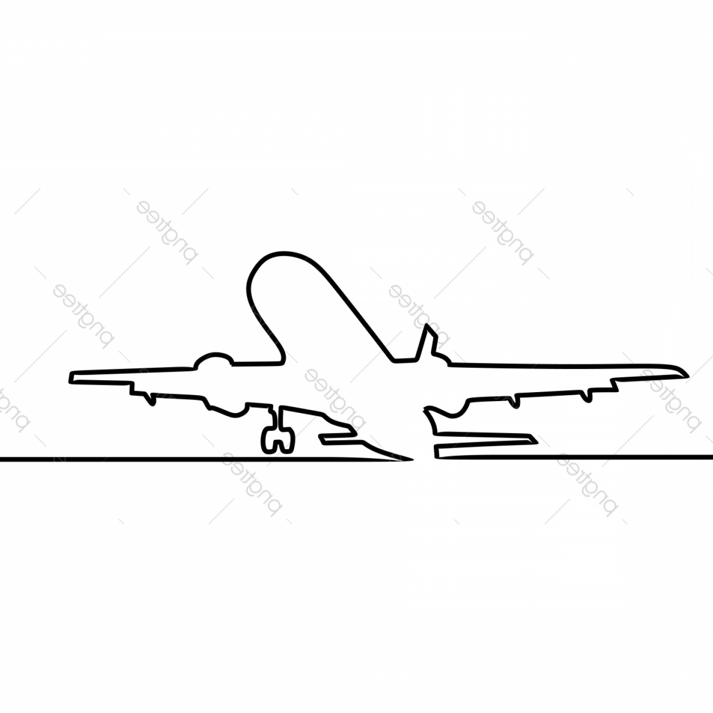 Vector Airplane Problem: Airplane One Line Art Drawing Vector Illustration