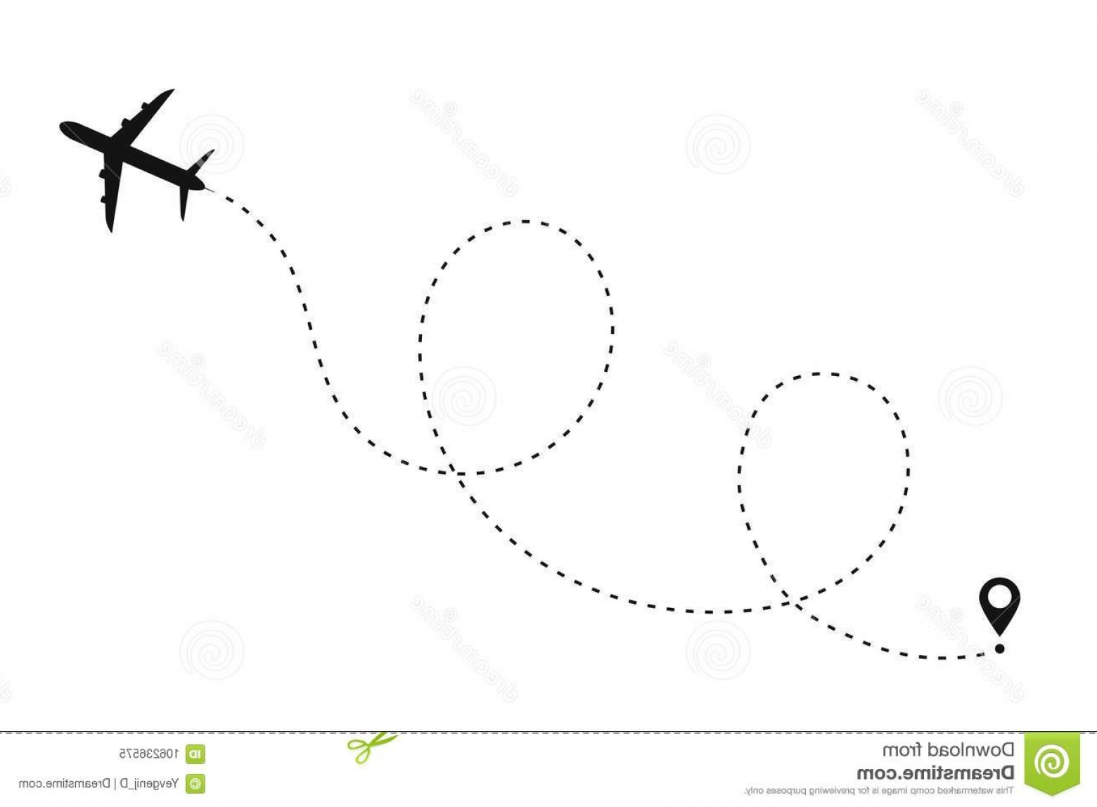 Black Heart And Plane Vector: Airplane Path Dotted Line Shape Route Plane Isolated White Background Airplane Path Dotted Line Shape Route Plane Image
