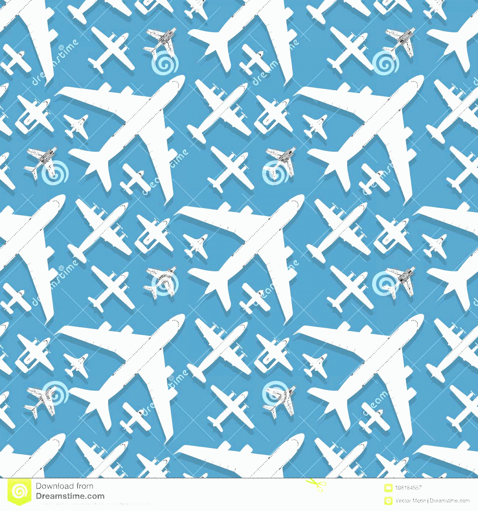Aviation Vector Designs: Airplane Seamless Pattern Background Vector Illustration Top View Plane Aircraft Transportation Travel Way Design Passenger Image