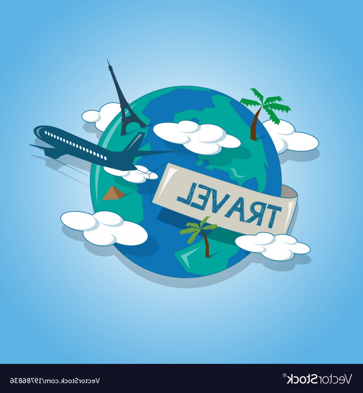 Airplane Travel Vectors: Airplane Travelling Around The Globe Travel Vector