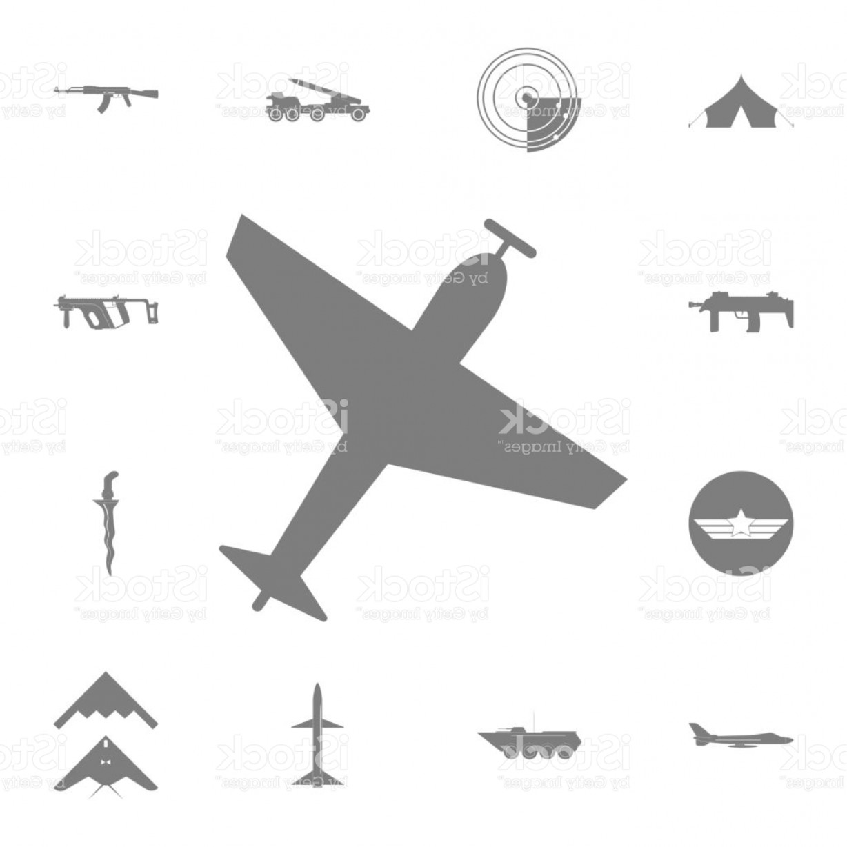 Climbing Army Vector: Airplane With Screw Plane Silhouette Icon Set Of Military Elements Icon Quality Gm