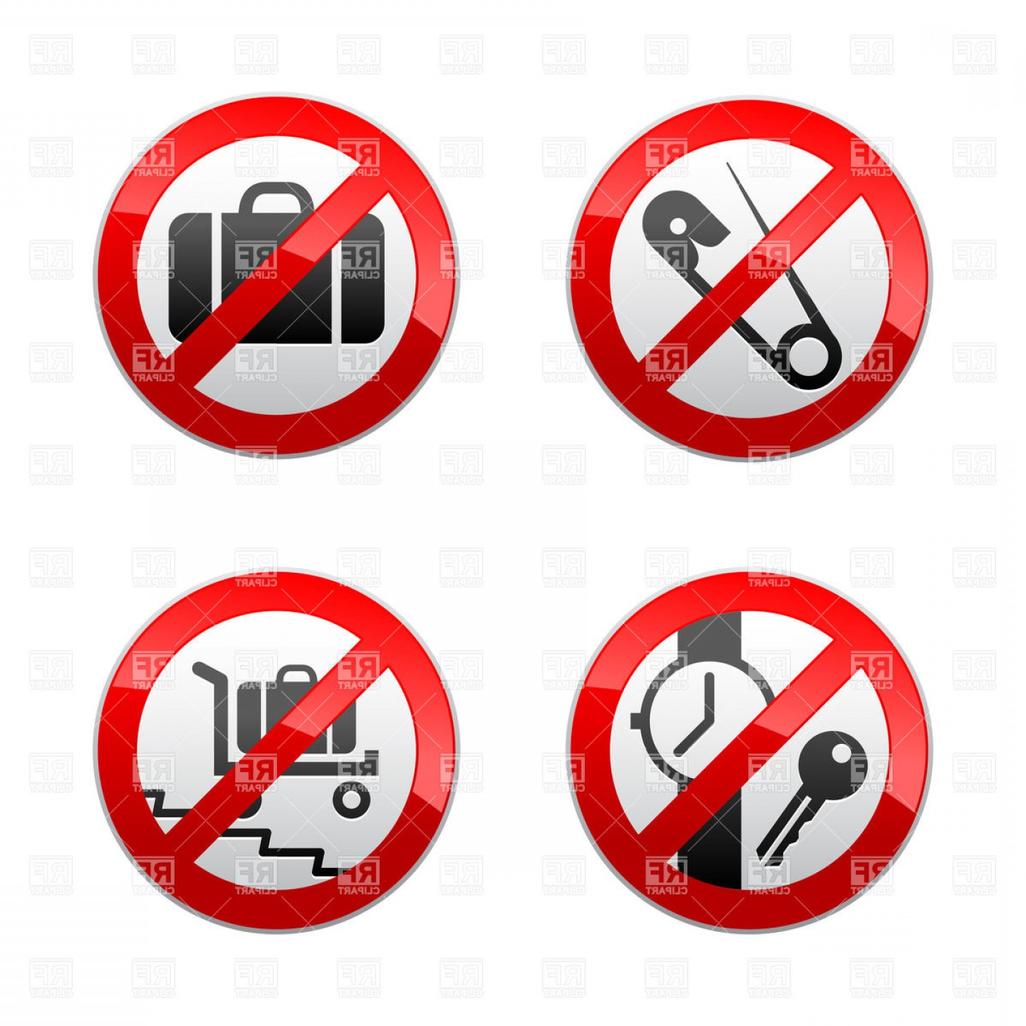 Vector Metal Detector: Airport Prohibited Signs Baggage And Metal Detector Icons Vector Clipart