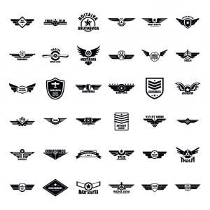 Army Aviator Wings Vector: Airforce Army Badge Logo Icons Set Simple Style Vector