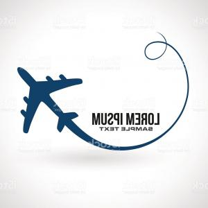 Airplane Travel Vectors: Airplane Circle Silhouette Travel Icon Vector