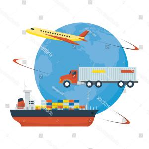 Vector Format Intermodal Logos: Airplane Truck Ship Worldwide Delivery Side