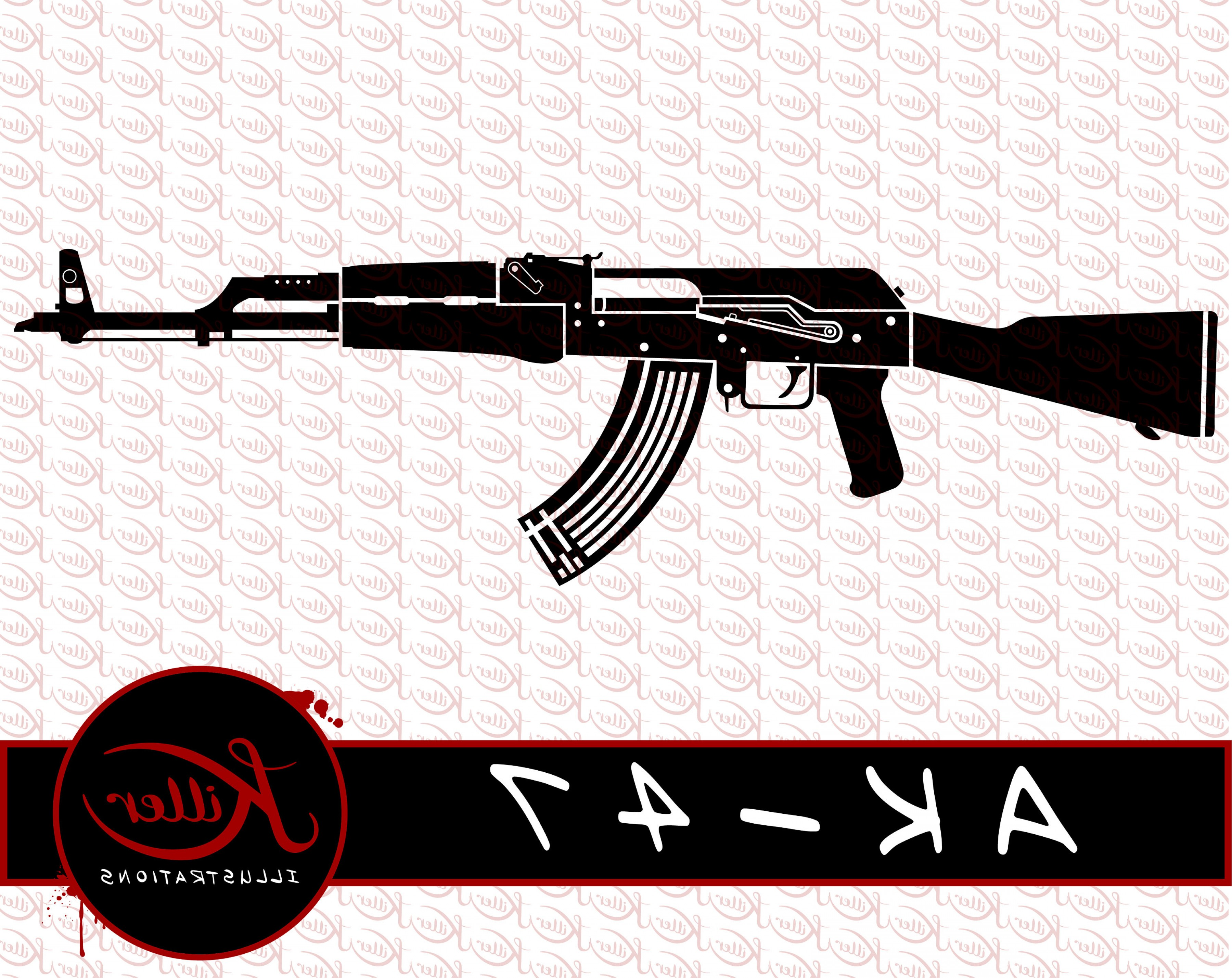 AK-47 Gun Vector: Ak Gun Vector Rifle Clip Art Firearm