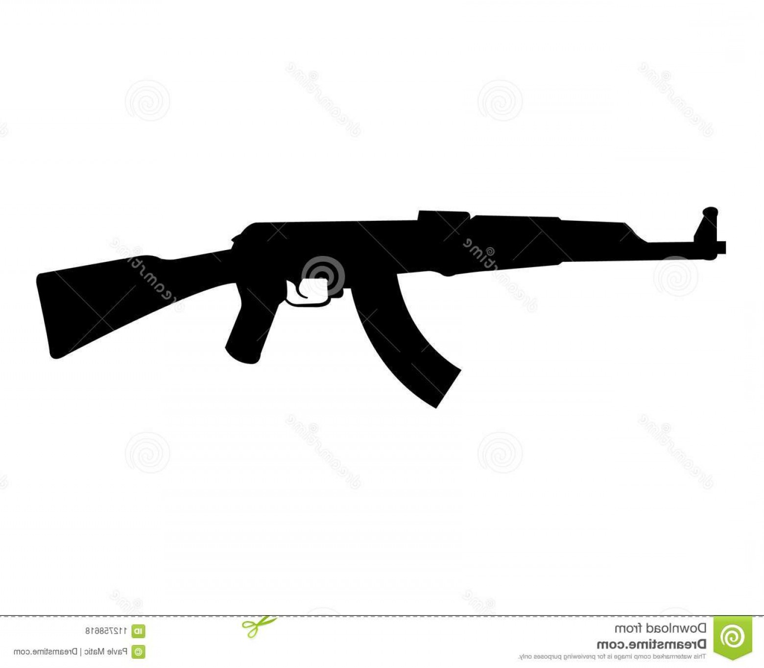 AK-47 Gun Vector: Ak Rifle Silhouette Simple Black Isolated White Background Image