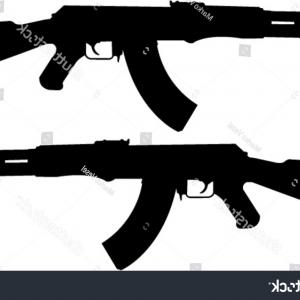 AK-47 Gun Vector: Assault Rifle Kalashnikov Ak Machine Gun Silhouette Vector Illustration Image