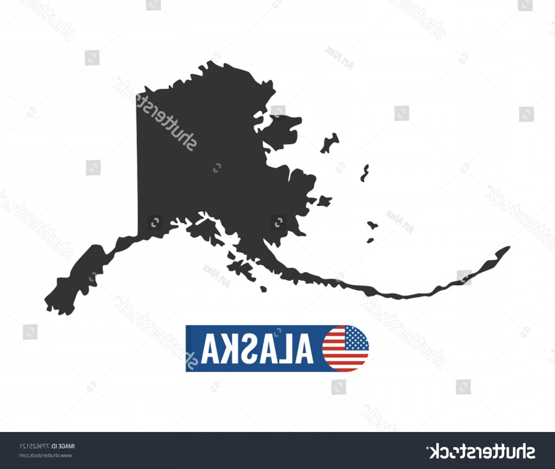 Alaska State White Background Vectors: Alaska Map Isolated On White Background