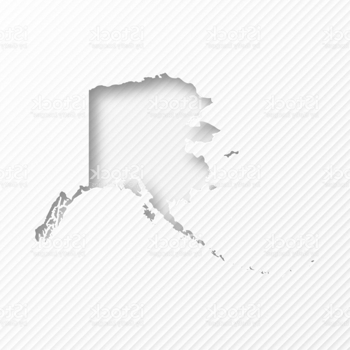 Alaska State White Background Vectors: Alaska Map With Paper Cut On Abstract White Background Gm