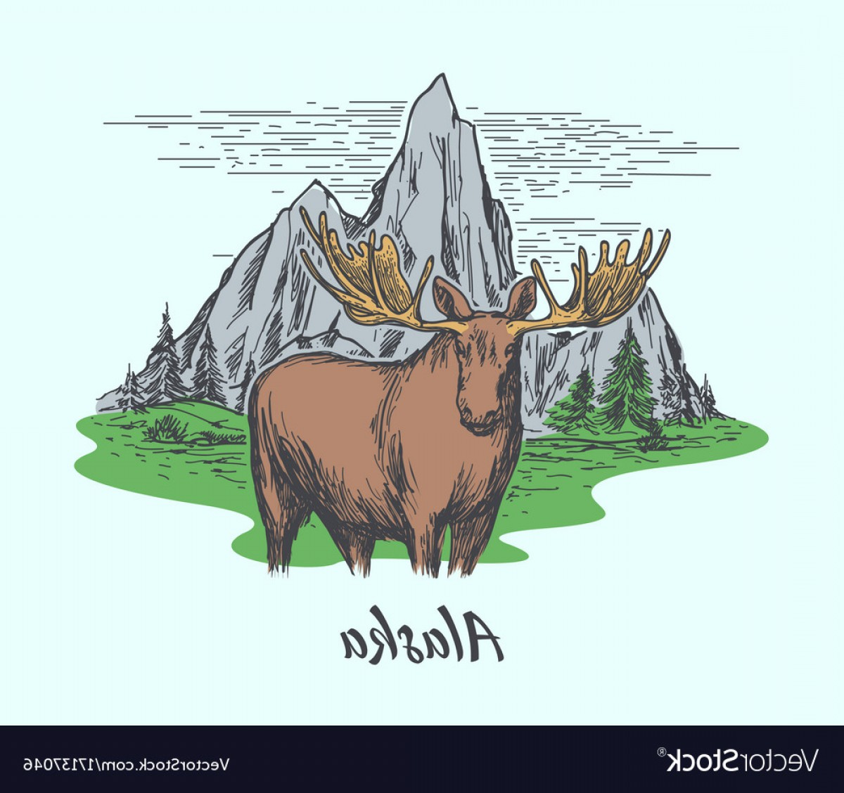 Alaska Moose Vectors: Alaska Poster With Moose And Mountains Vector