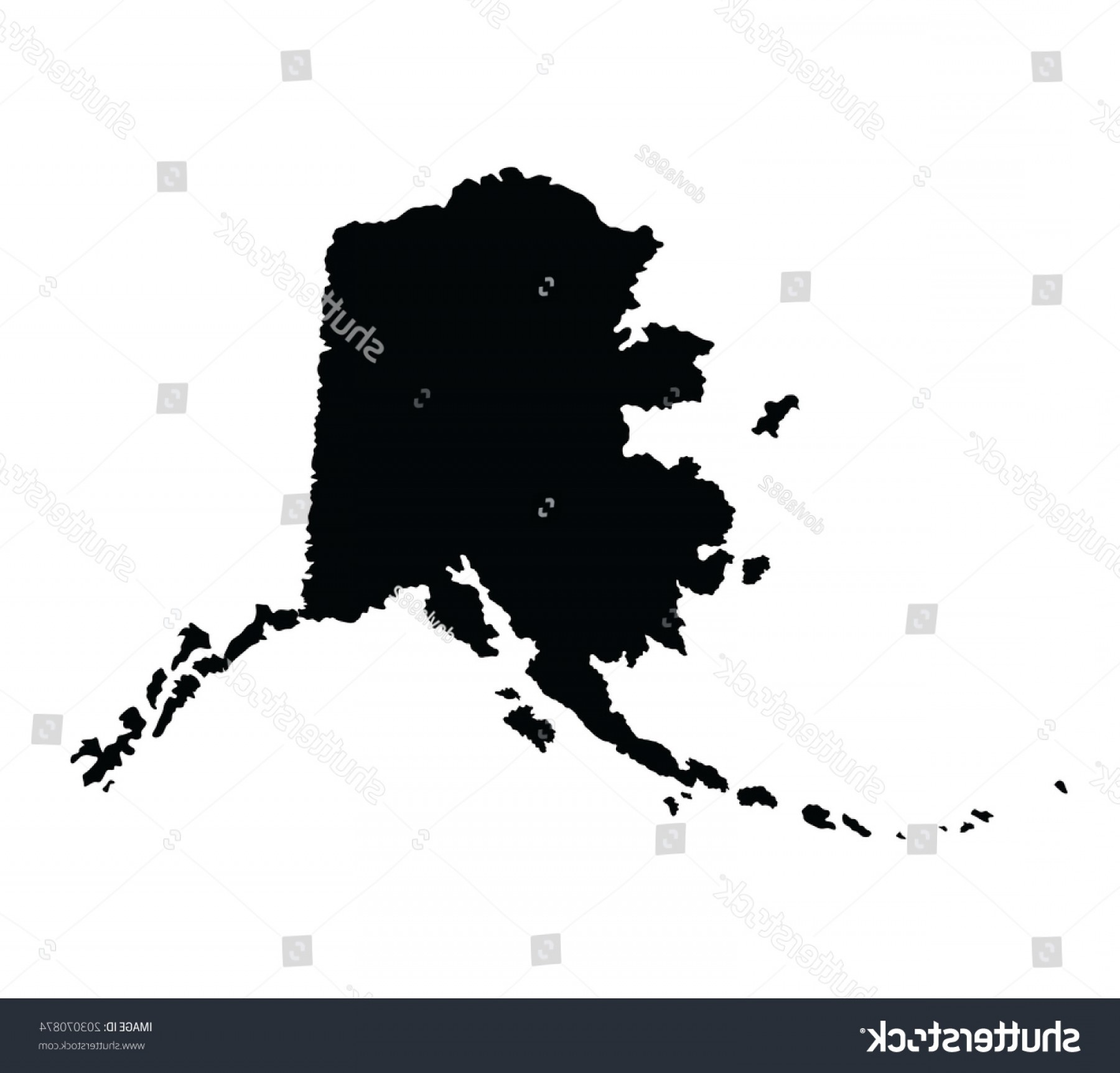 Alaska State White Background Vectors: Alaska Vector Map Silhouette Isolated On
