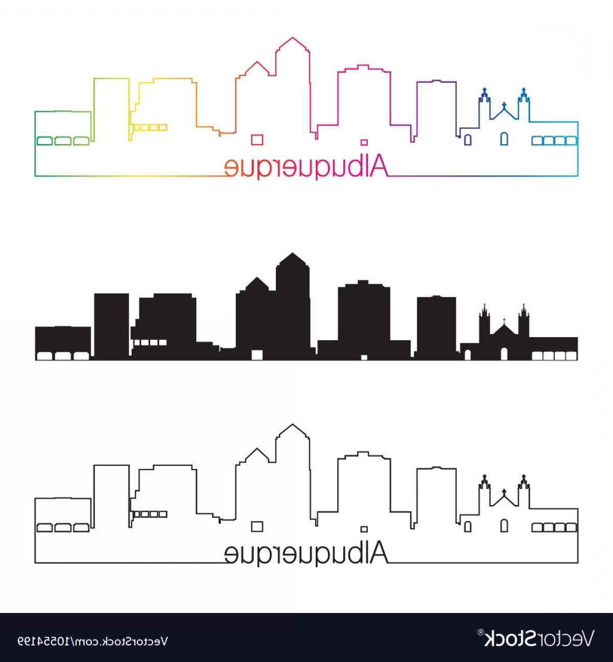 Vector Albuquerque: Albuquerque Skyline Linear Style With Rainbow Vector