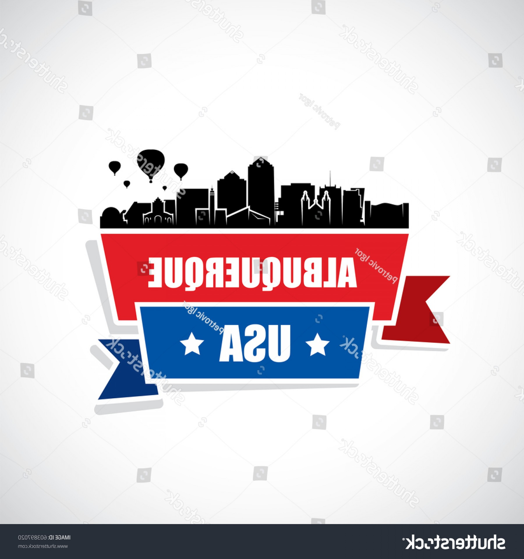 Vector Albuquerque: Albuquerque Skyline Ribbon Banner New Mexico