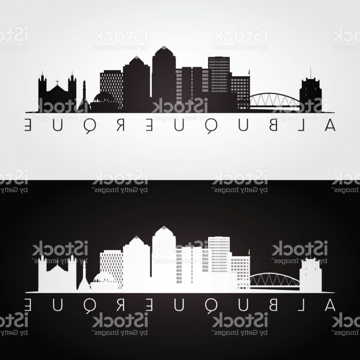 Vector Albuquerque: Albuquerque Usa Skyline And Landmarks Silhouette Black And White Design Vector Gm