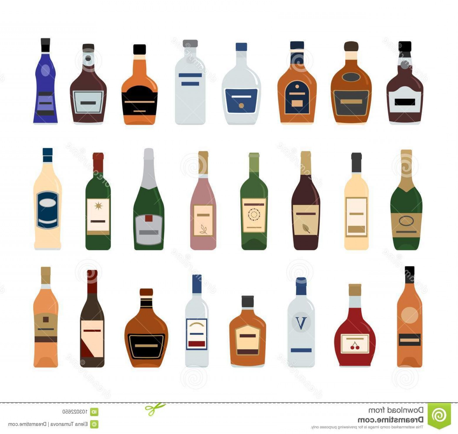 Booze Bottle Vector: Alcohol Bottle Icons White Background Large Vector Set Image