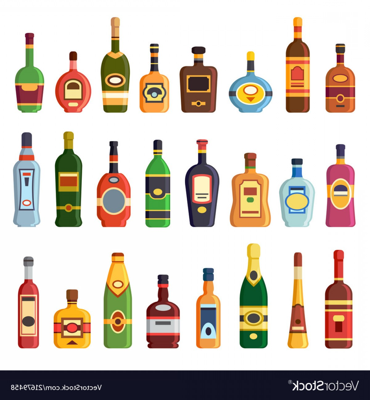 Booze Bottle Vector: Alcohol Bottles Alcoholic Liquor Drink Bottle Vector