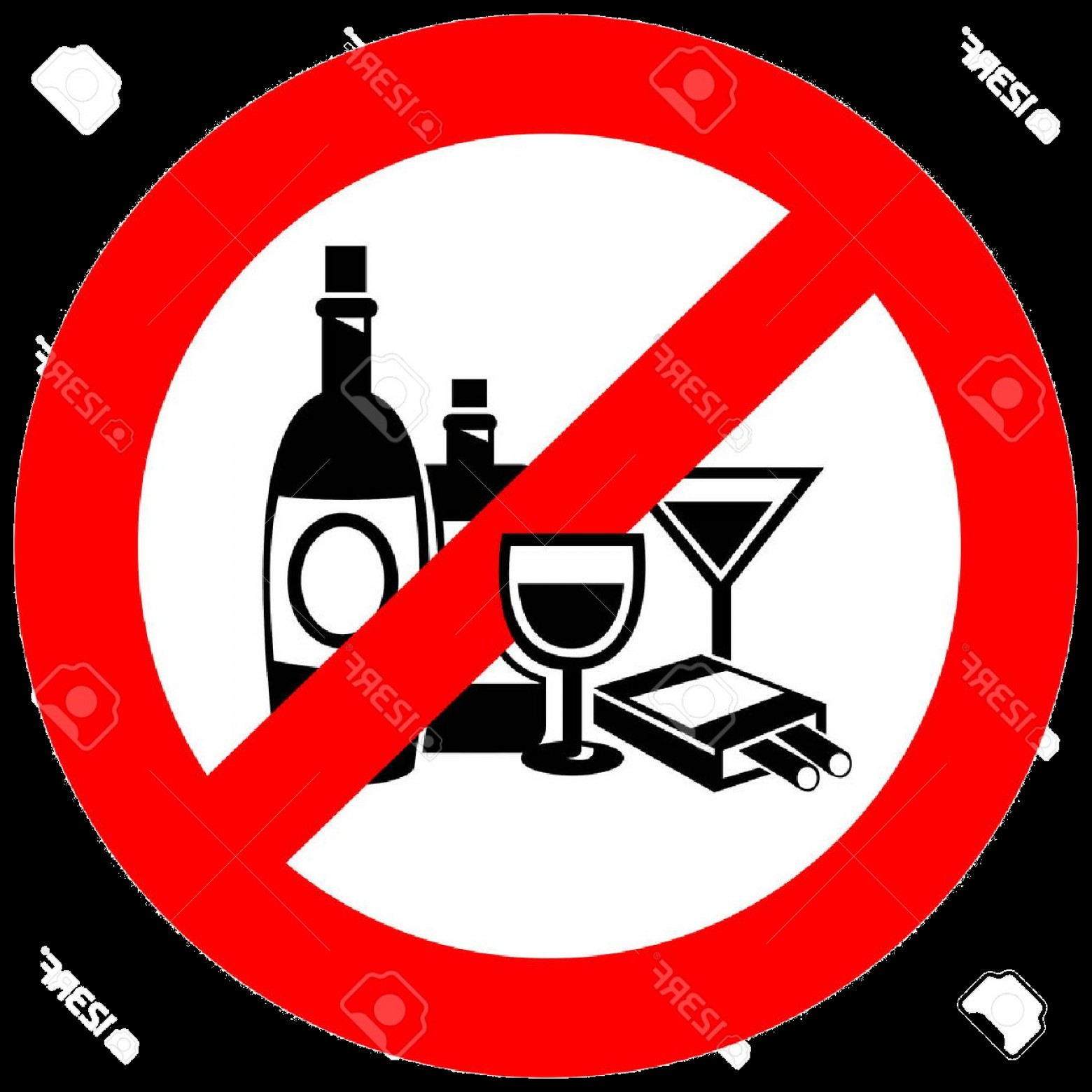 Vector No Alcohol: Alcohol No And Smoking Sign Create By Vector Royalty Free Png