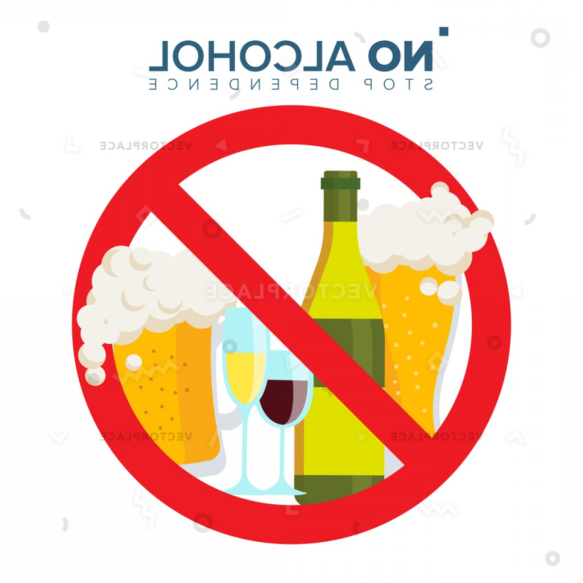 Vector No Alcohol: Alcohol Sign Strike Through Red Circle Vector Illustration