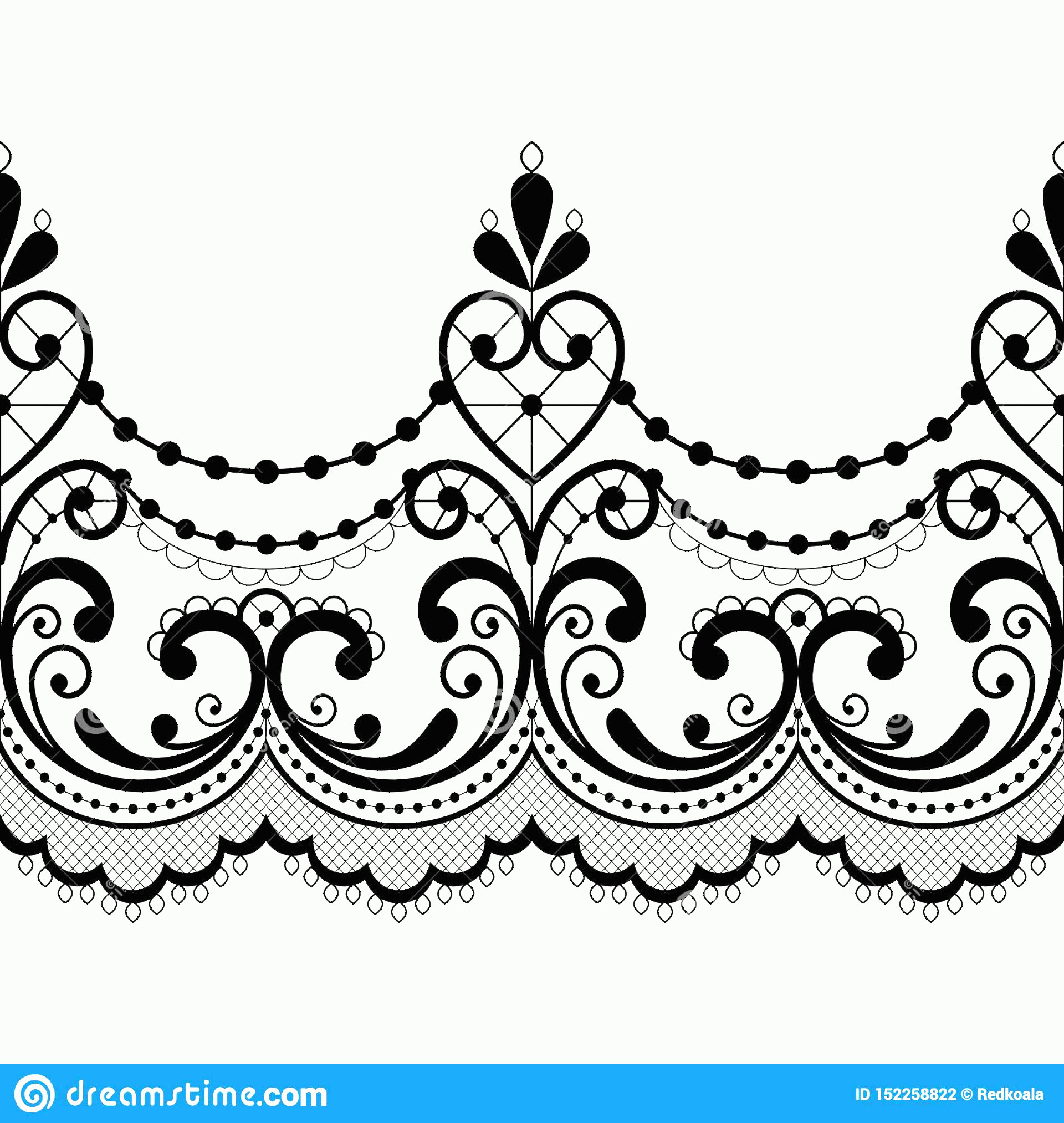 Lace Vector Images Free Clip Art: Alencon French Seamless Lace Vector Pattern Openwork Ornament Textile Embroidery Design Black White Background Monochrome Image