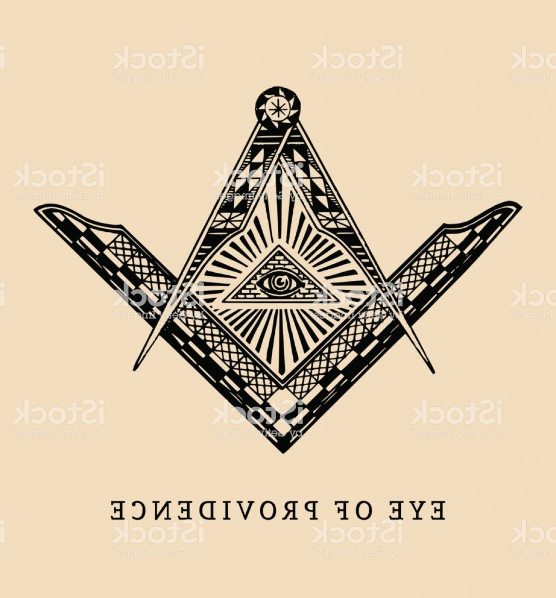 Pyramid With Eye Of Providence Vector: All Seeing Eye Of Providence Masonic Square And Compass Symbols Freemasonry Pyramid Gm