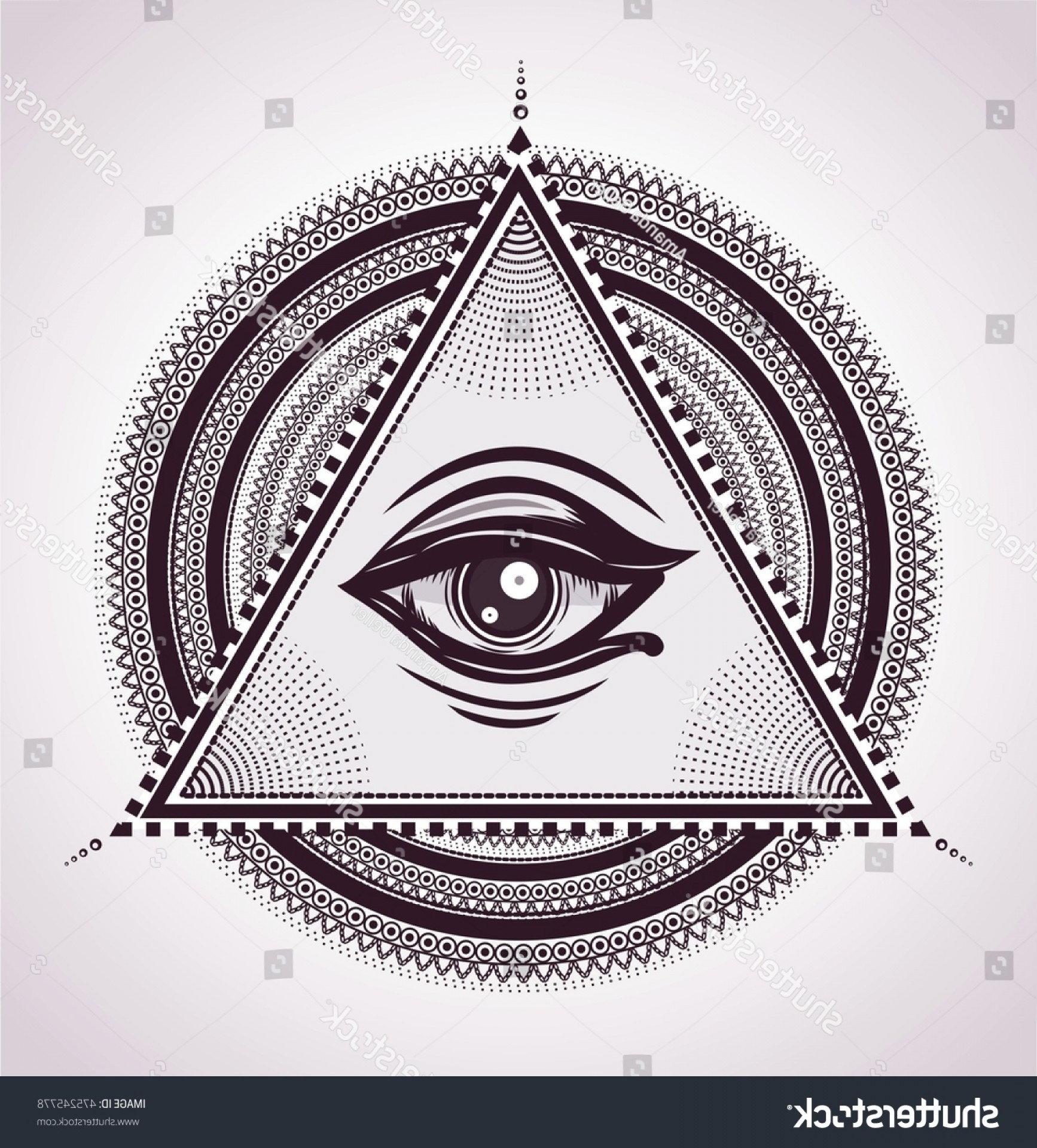 Pyramid With Eye Of Providence Vector: All Seeing Eye Pyramid Symbol New