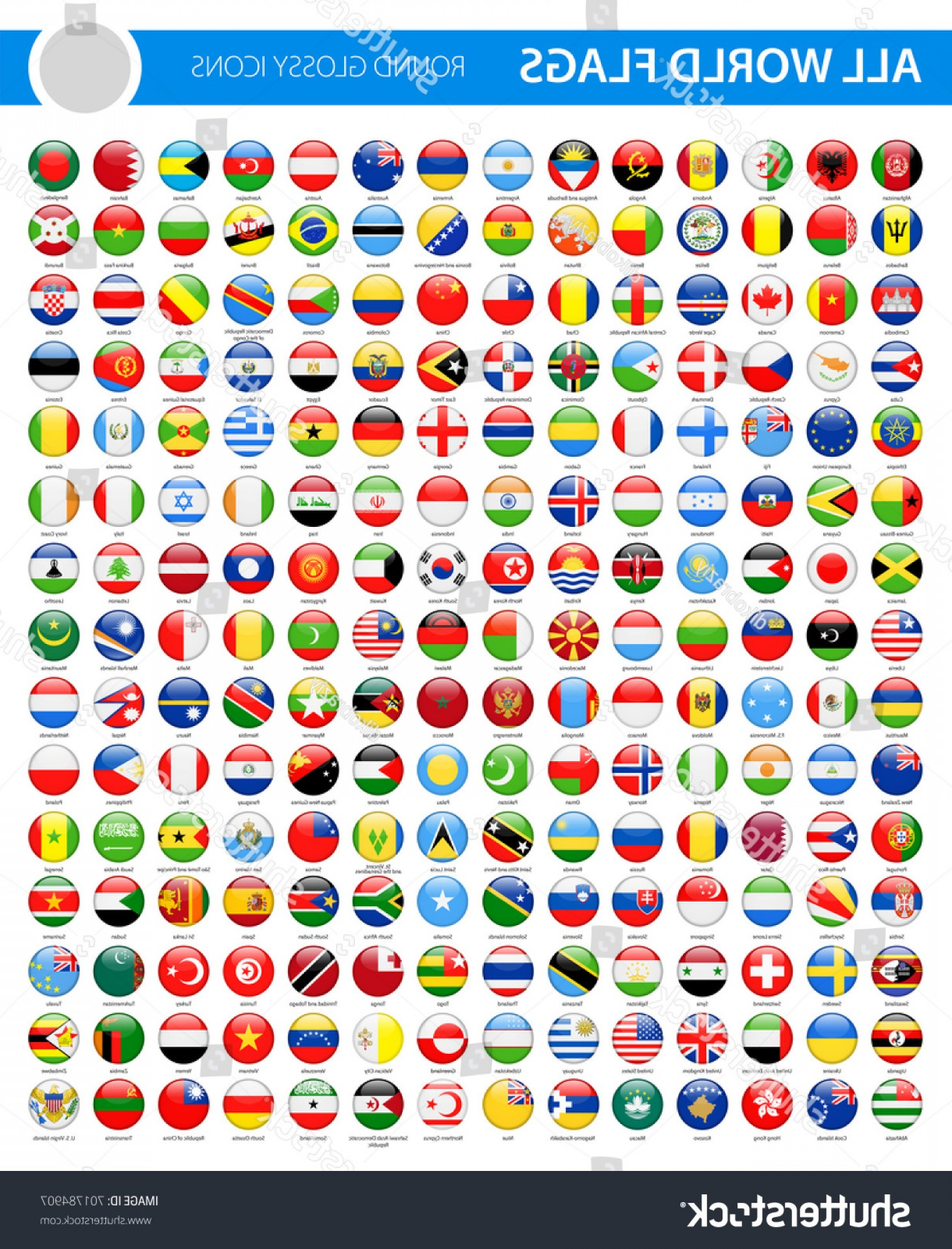 Vector Round Name List: All World Flags Round Glossy Vector