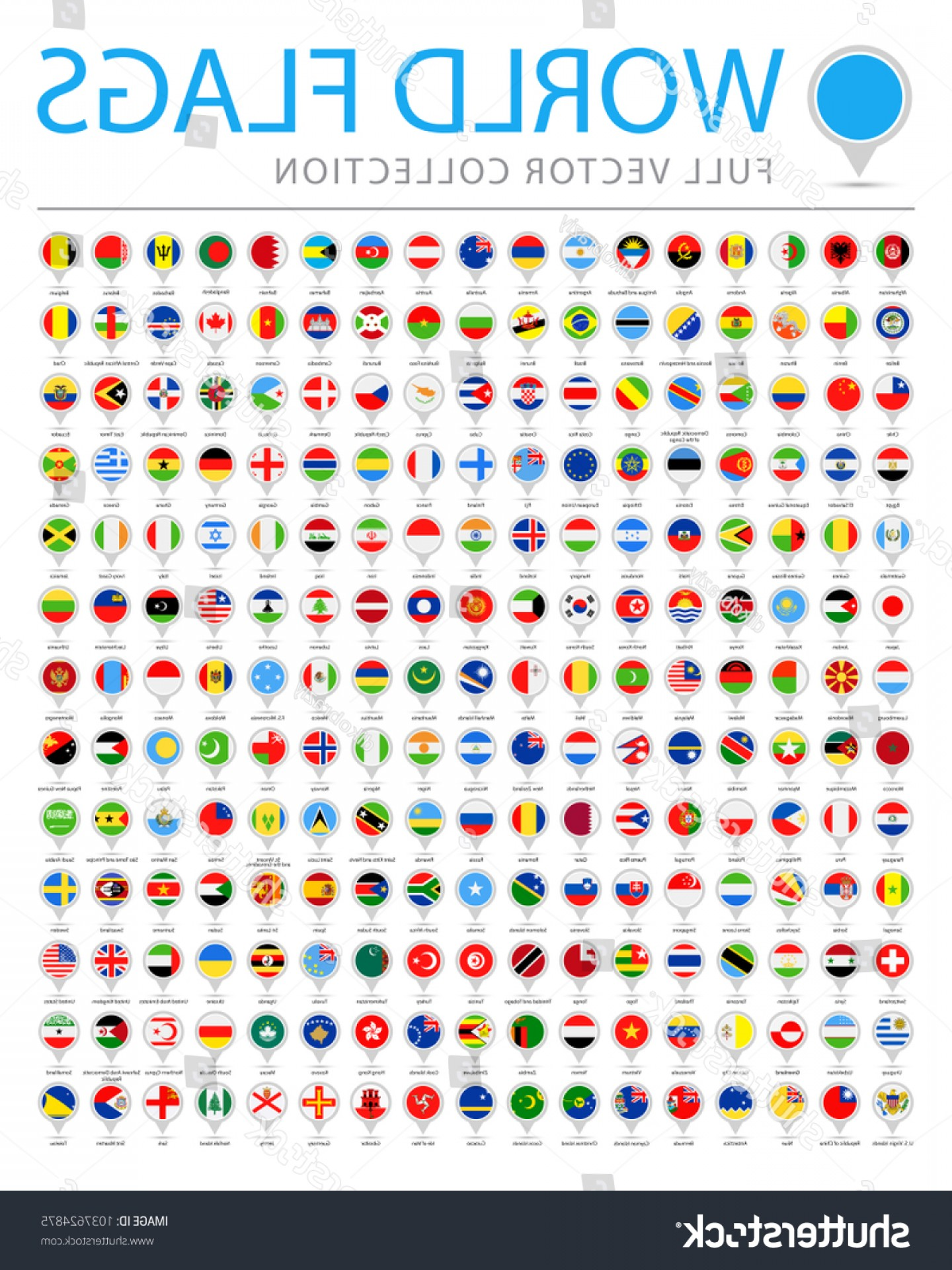 Vector Round Name List: All World Flags Set New Additional
