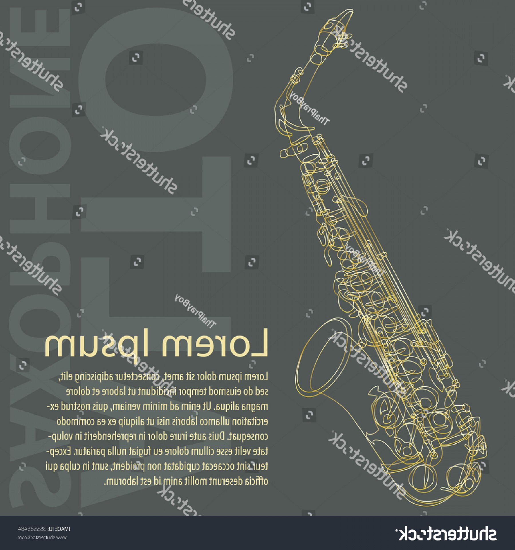 Alto Saxophone Vector Graphics: Alto Saxophone Detailed Line Art