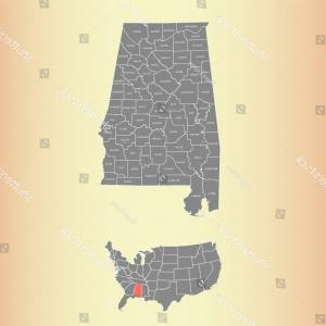 Alabama Outline Vector: Alabama County Map Names State Usa