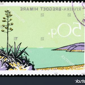 Vector Drawings Of 1966 Riviera: Photofrance Circa Vintage Canceled Postage Stamp With Cote D Azur French Riviera Landscape Illustrat