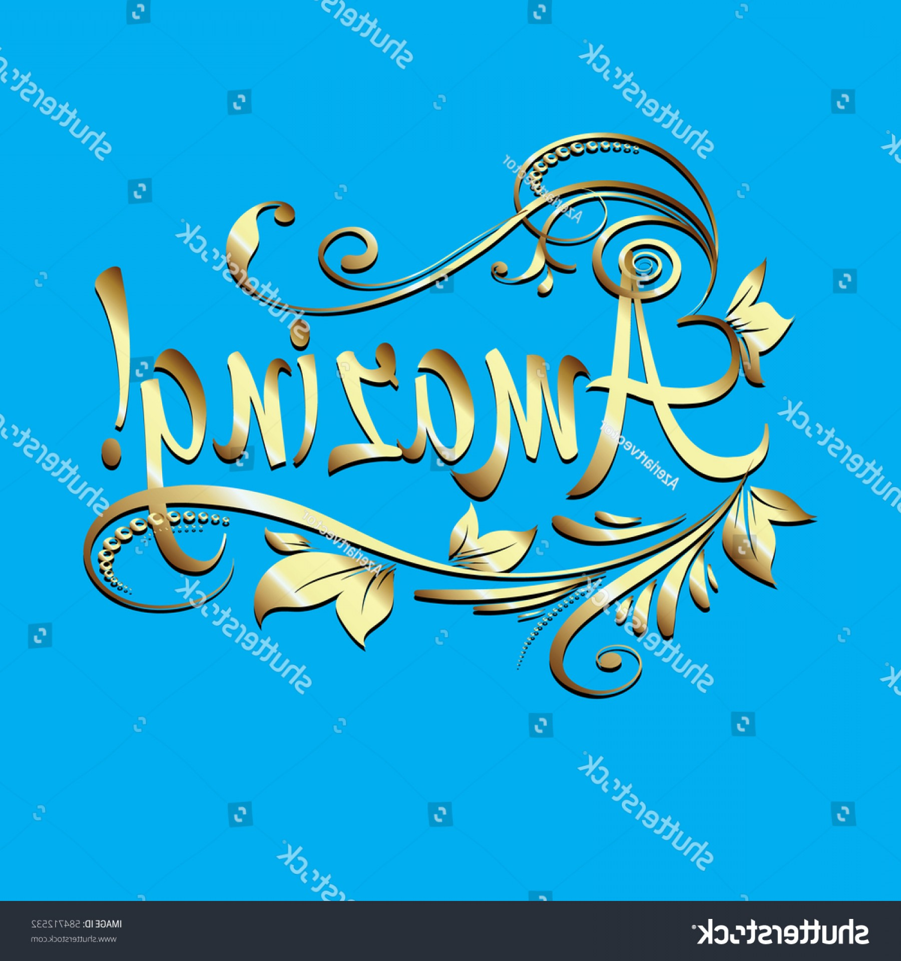 Floral Vector Calligraphy: Amazing Calligraphic Vintage Gold D Lettering