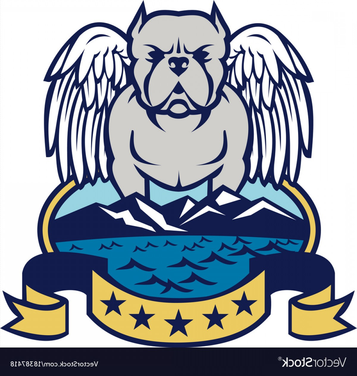 Vector Of Angel Art Dog: American Bully Dog Angel Wings Island Vector
