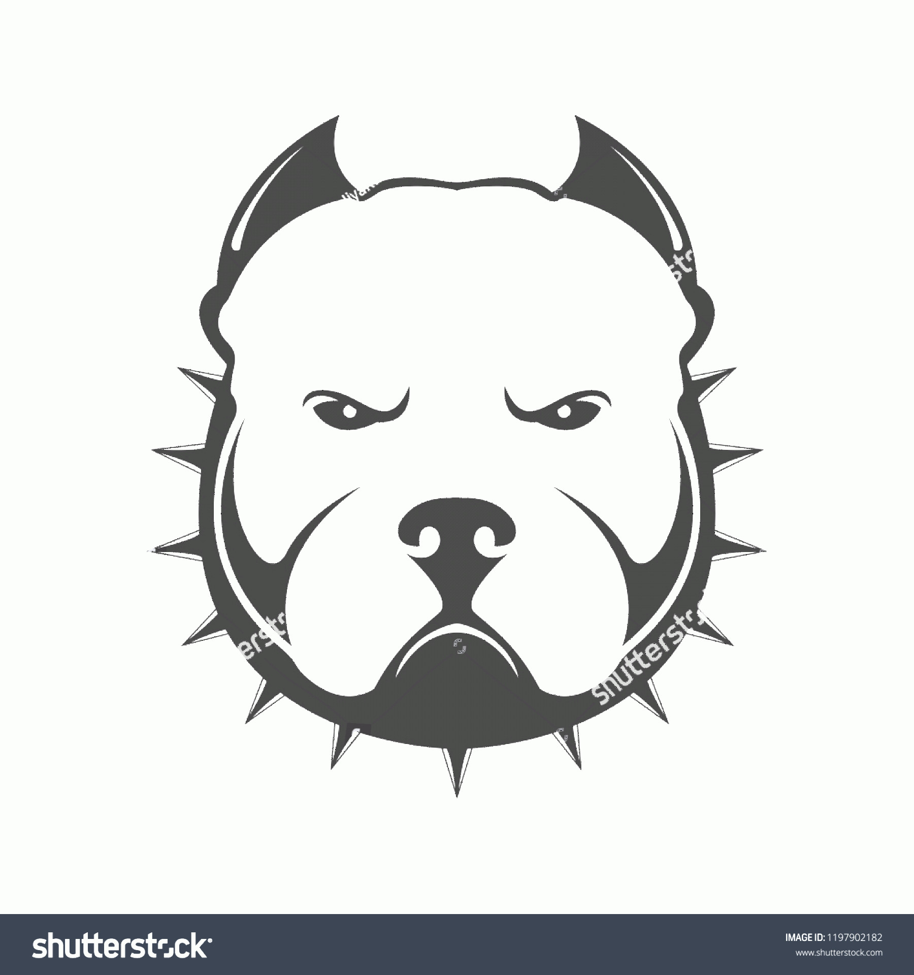 Angry Dog Vector Black And White: American Bully Logo Portrait Angry Dog